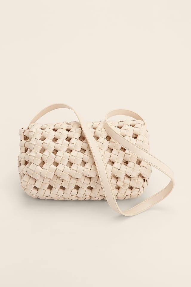 Creme Big Braid Crossbody Bag