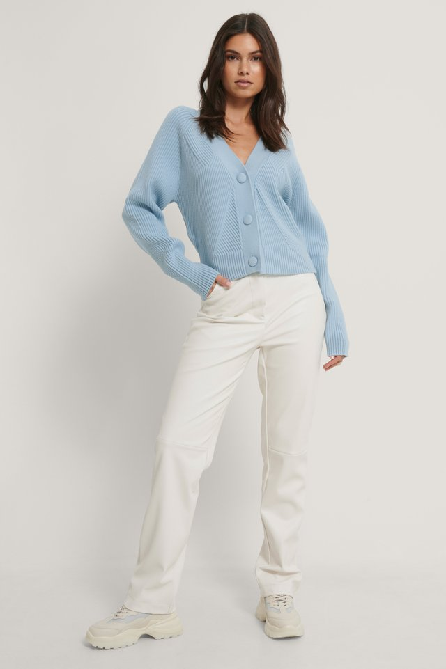 Light Blue Big Button Cropped Sweater