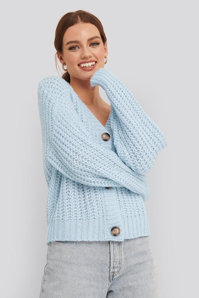 Big Button Short Cardigan Light Blue