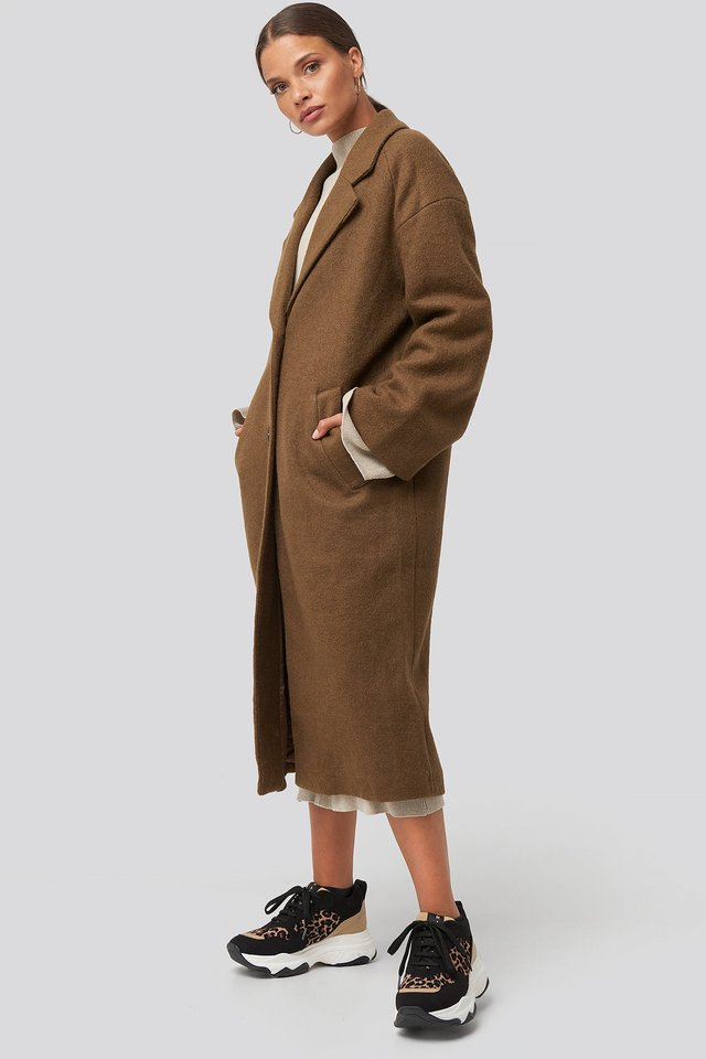 Big Button Long Coat Brown