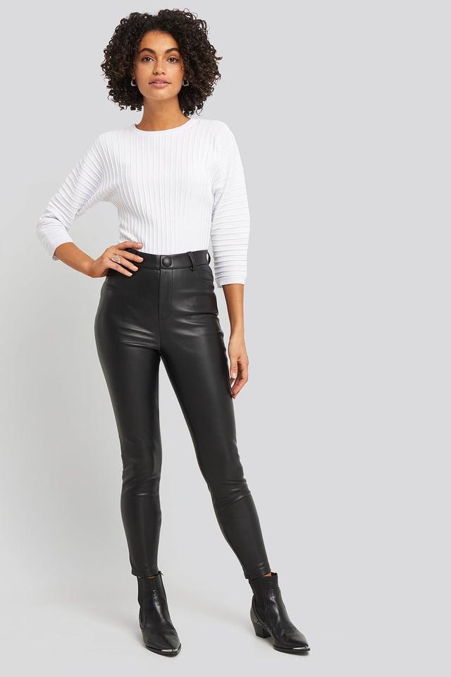 Big Button PU Pants Black