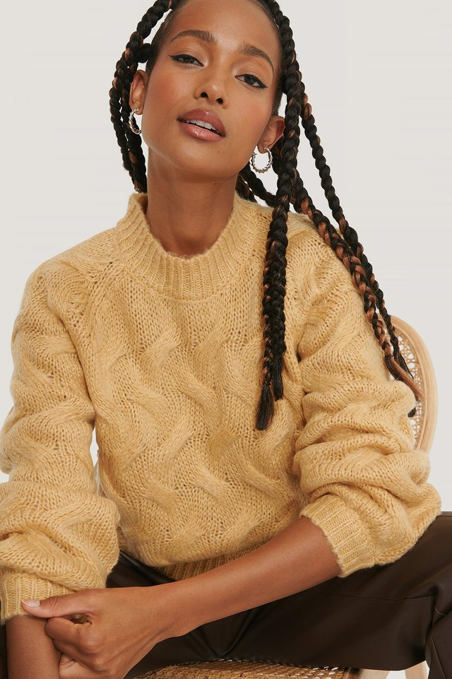 Dusty Yellow Big Cable Knitted Sweater