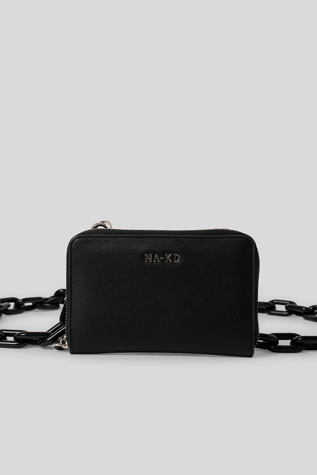 Black Big Chain Crossbody Mini Bag