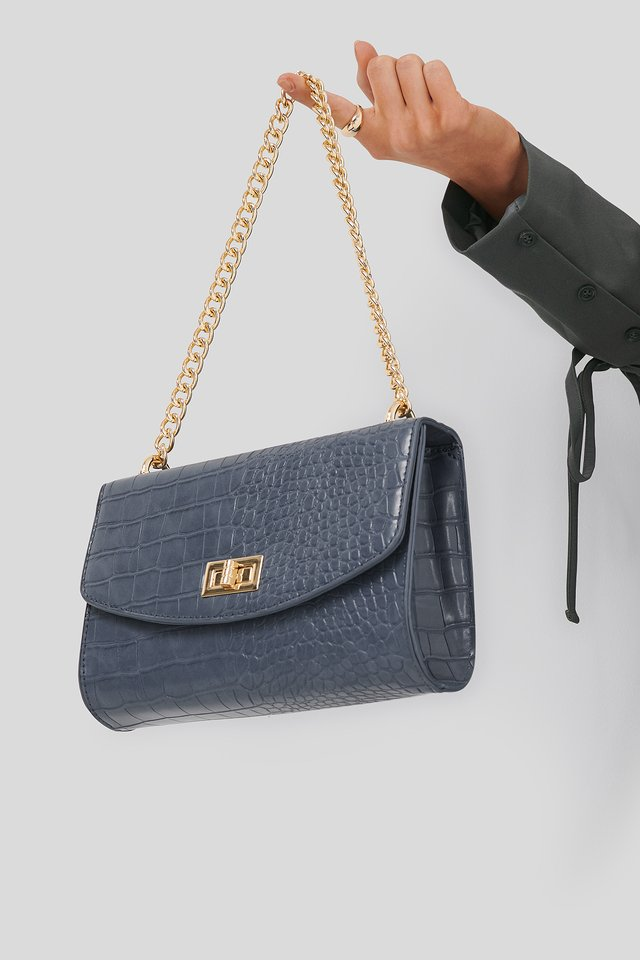 Big Chain Flap Bag Dusty Blue