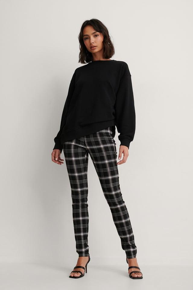 Black Check Spodnie W Kratkę