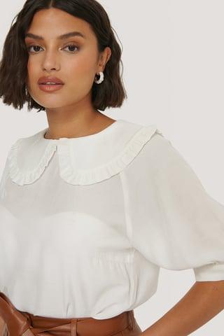 White Big Collar Blouse