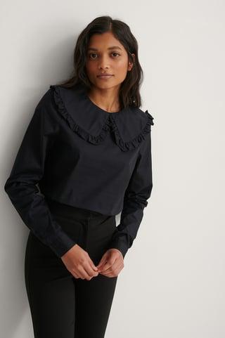 Black Big Collar Blouse