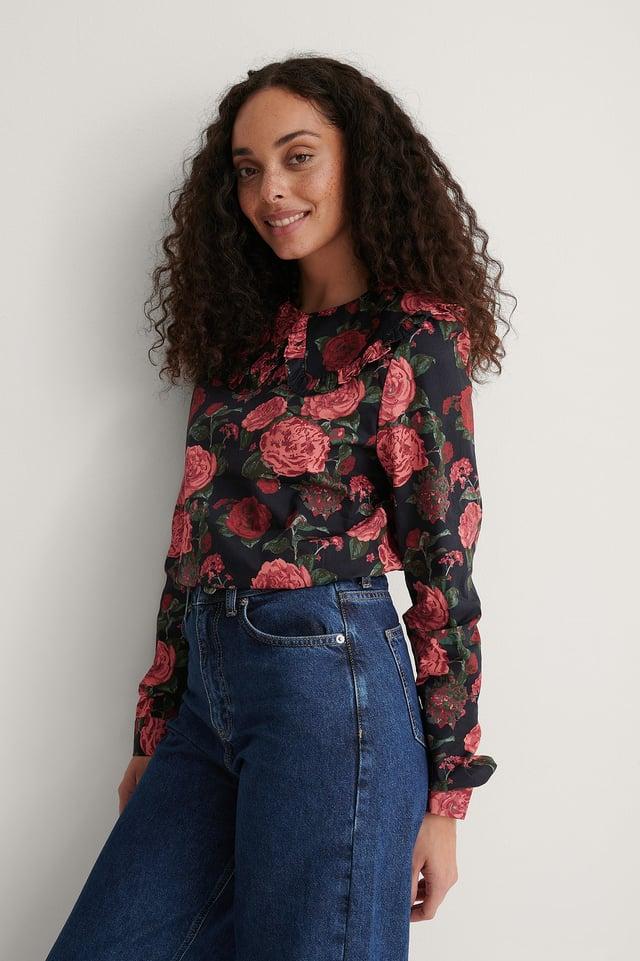 Flower Print Big Collar Blouse