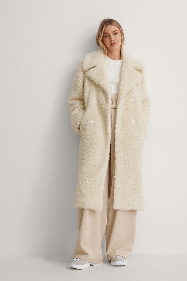Cream Big Collar Fluffy Coat