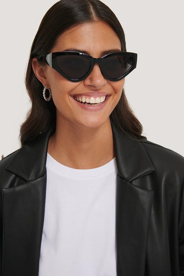 Black Big Drop Shape Sunglasses