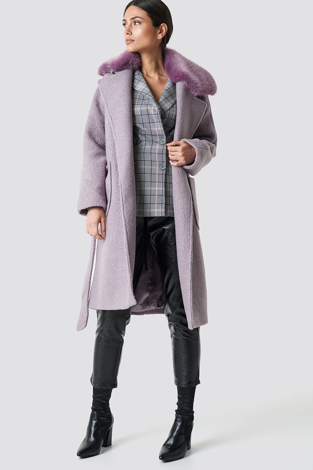 Big Faux Fur Collar Coat Dusty Purple