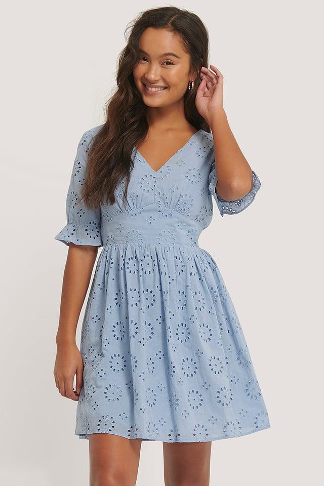 Big Flower Anglaise Dress Dusty Blue