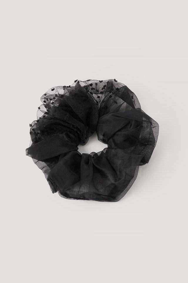Black Big Organza Scrunchie