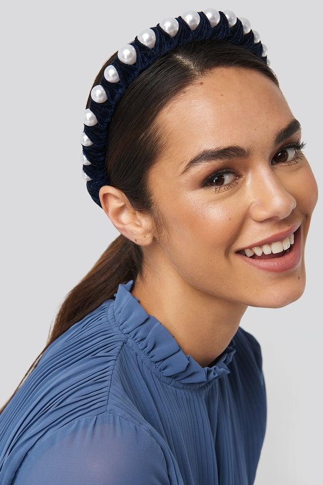 Big Pearl Velvet Hair Hoop Midnight Blue
