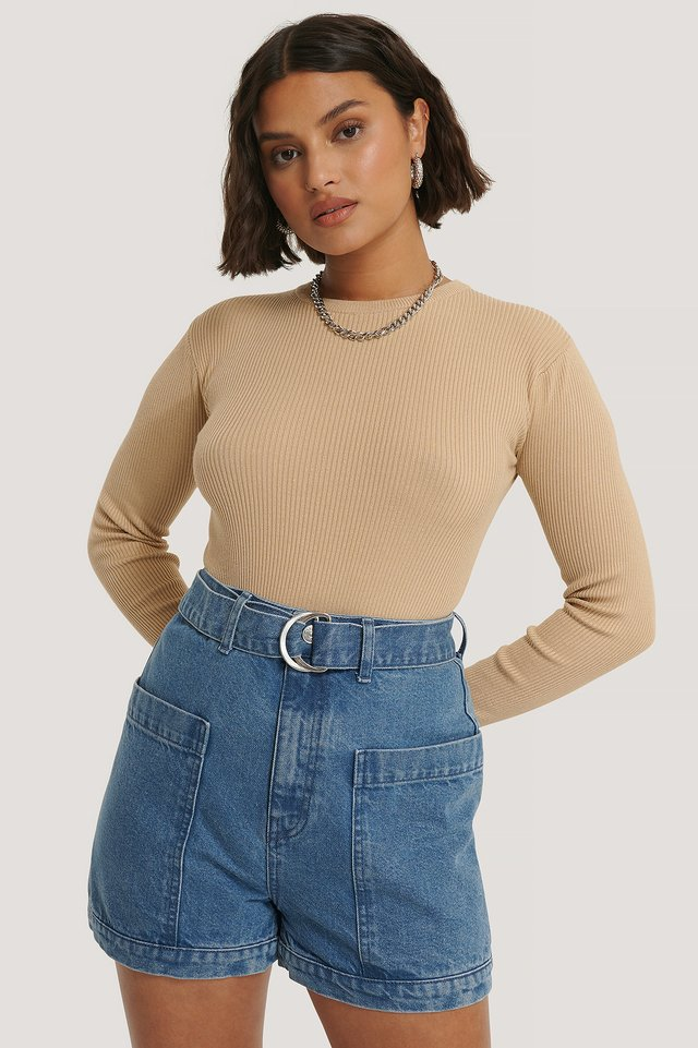 Mid Blue Big Pocket Buckle Shorts