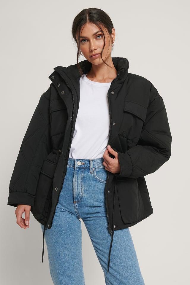 Black Big Pocket Drawstring Jacket