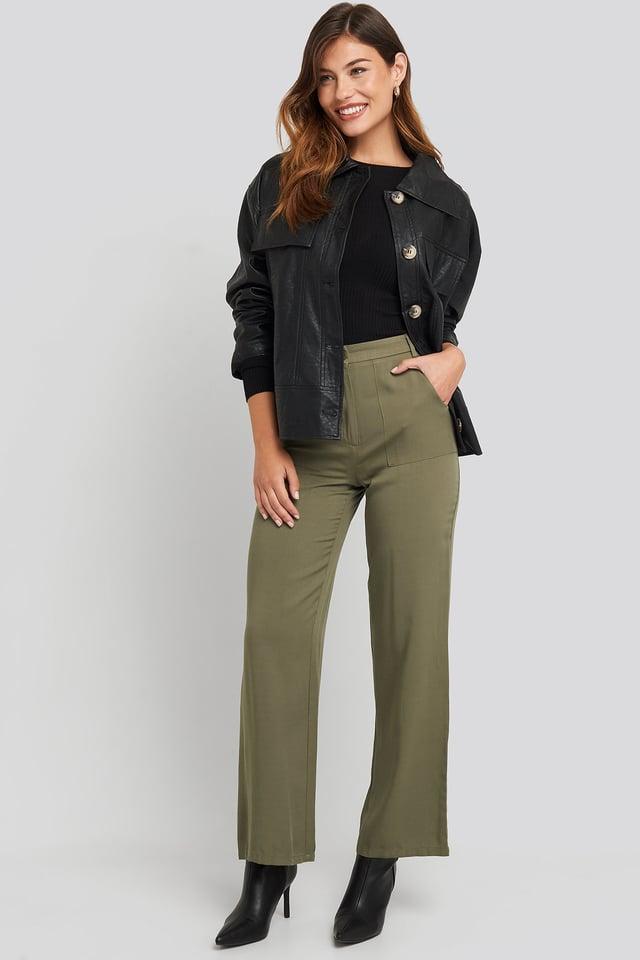 Big Pocket Flowy Pants Green