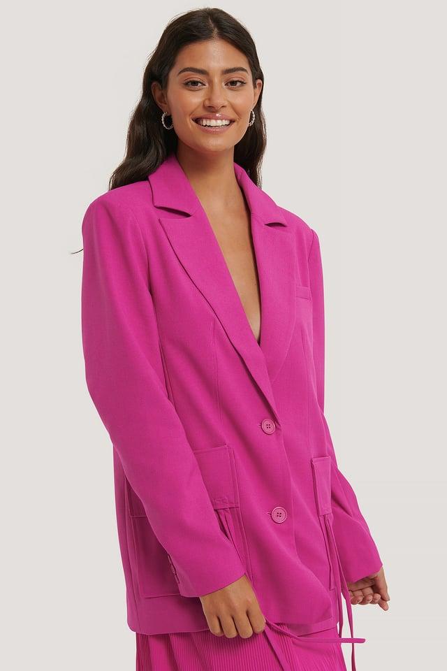 Strong Pink Big Pocket Oversized Blazer