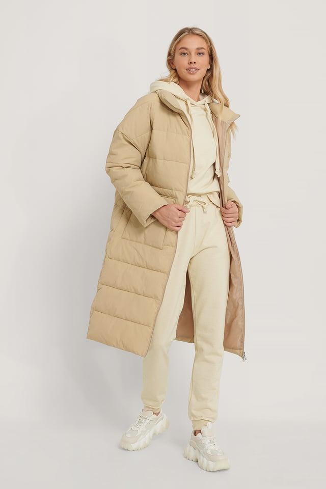 Beige Big Pocket Padded Long Jacket
