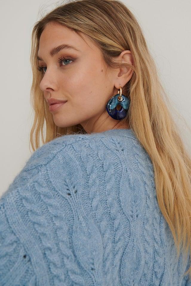 Blue/Gold Big Porcelain Ring Earrings