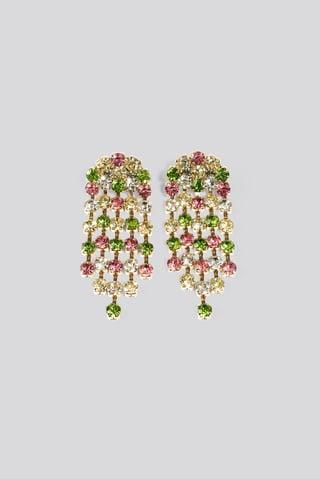 Mixcolor Print Big Rainbow Rhinestone Earrings