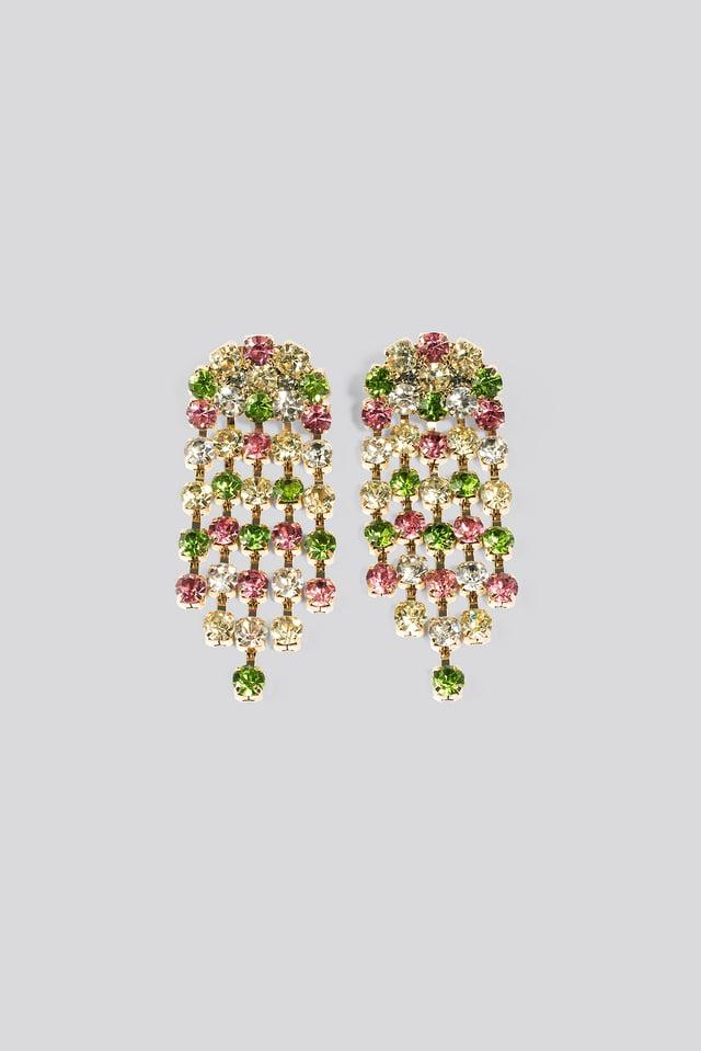 Big Rainbow Rhinestone Earrings NA-KD Accessories