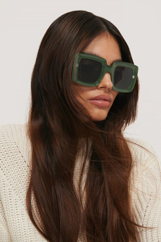 Big Retro Sunglasses Dark Green