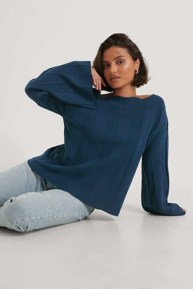 Big Ribbed Cropped Knitted Sweater Navy