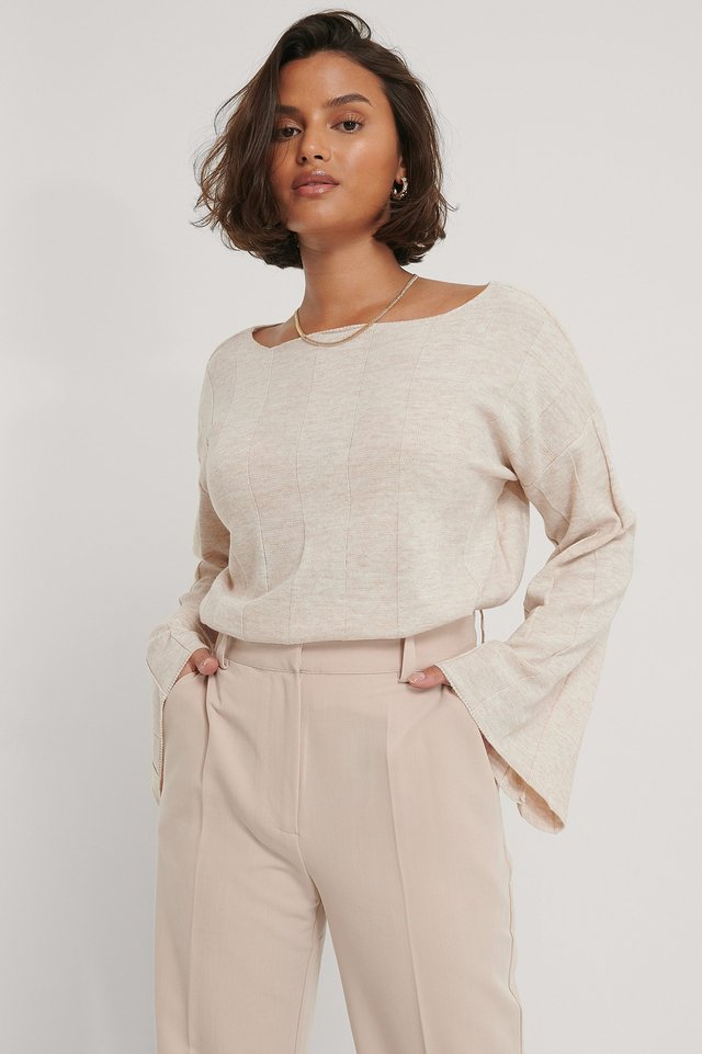 Light Beige Big Ribbed Cropped Knitted Sweater