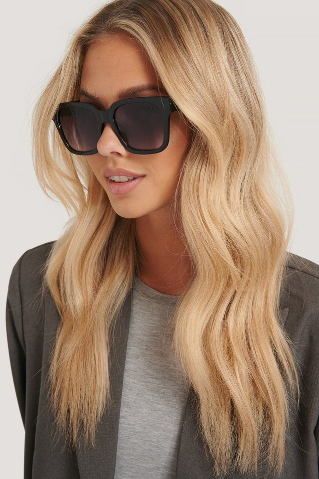 Big Rounded Edge Sunglasses Black