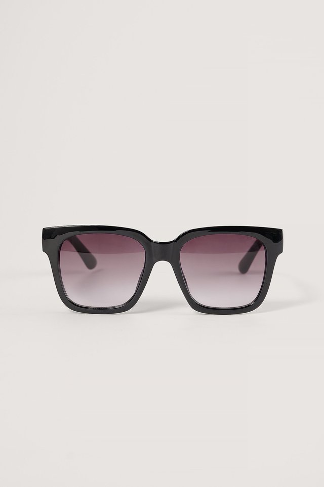 Black Big Rounded Edge Sunglasses