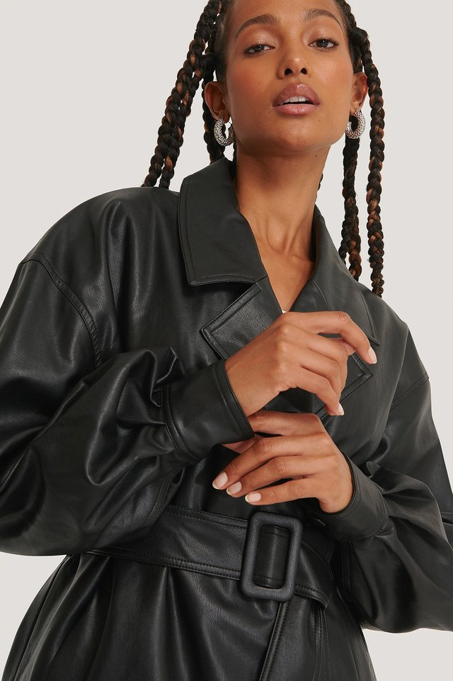 Big Sleeve Belted PU Jacket Black