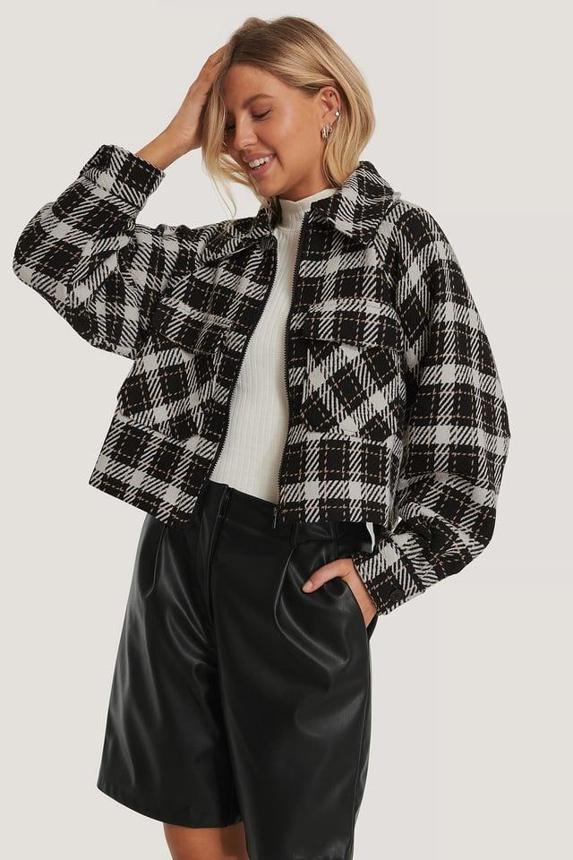 Black/White Check Big Sleeve Checked Jacket