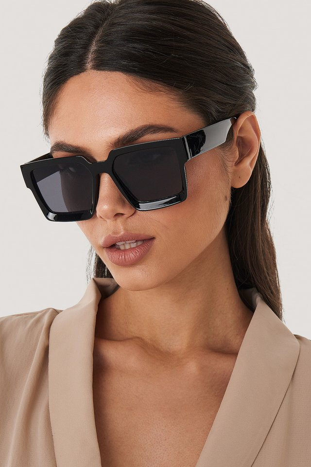 Big Squared Edge Sunglasses Black
