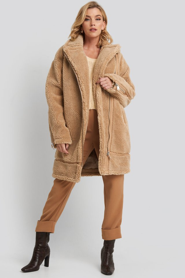 Biker Long Teddy Coat Beige
