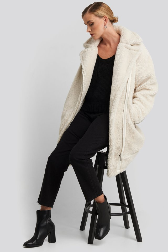 Offwhite Biker Long Teddy Coat
