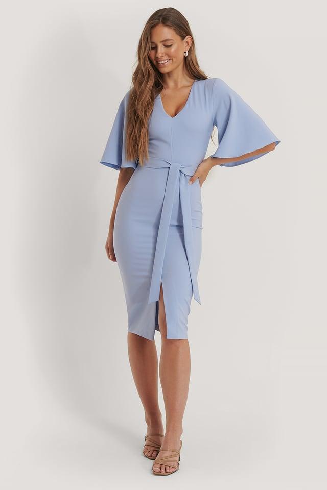 Sukienka Midi Z Wiązaniami Blue