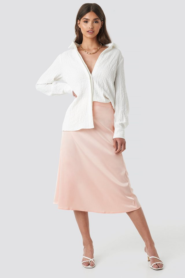 Pink Bias Cut Satin Midi Skirt