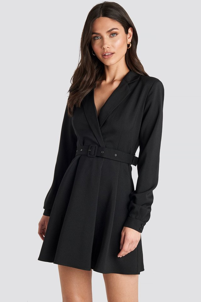 Blazer Belted Mini Dress Black