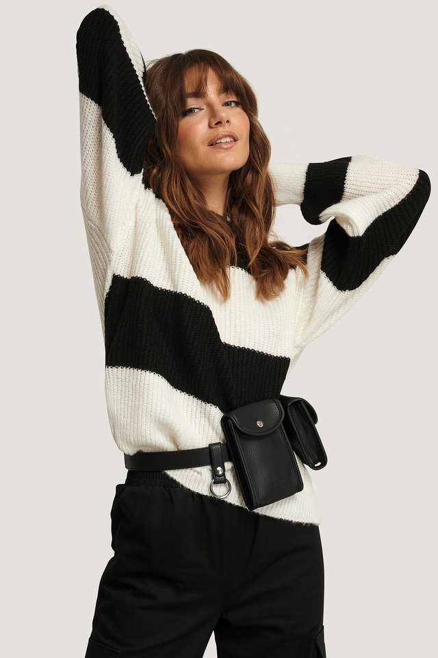 Block Color Knitted Sweater Black/White