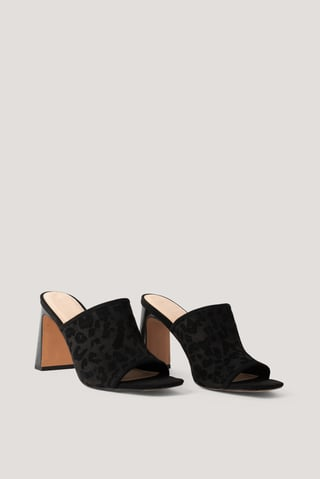 Black Block Heeled  Mules