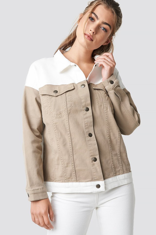 Beige Blocking Color Denim Jacket