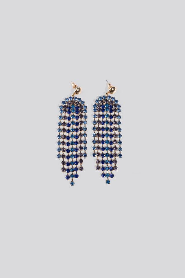Blue Rhinestone Drop Earrings Blue