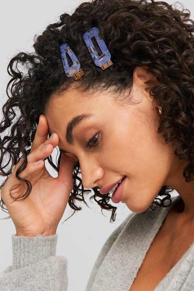 Blue Stony Hairclips Blue