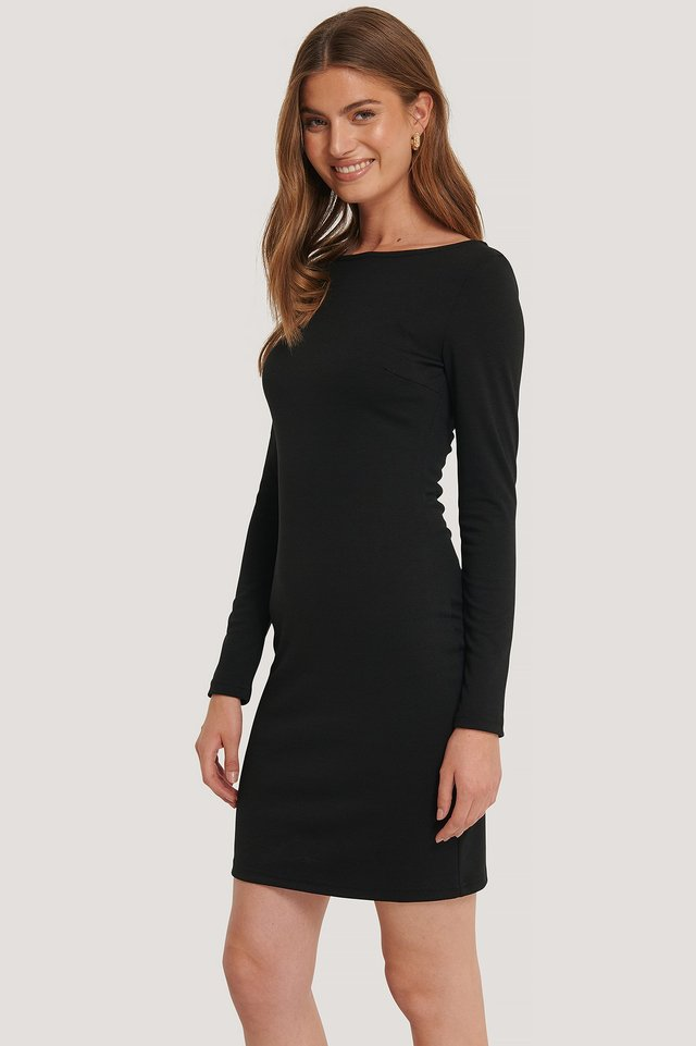 Boat Neck Bodycon Dress Black