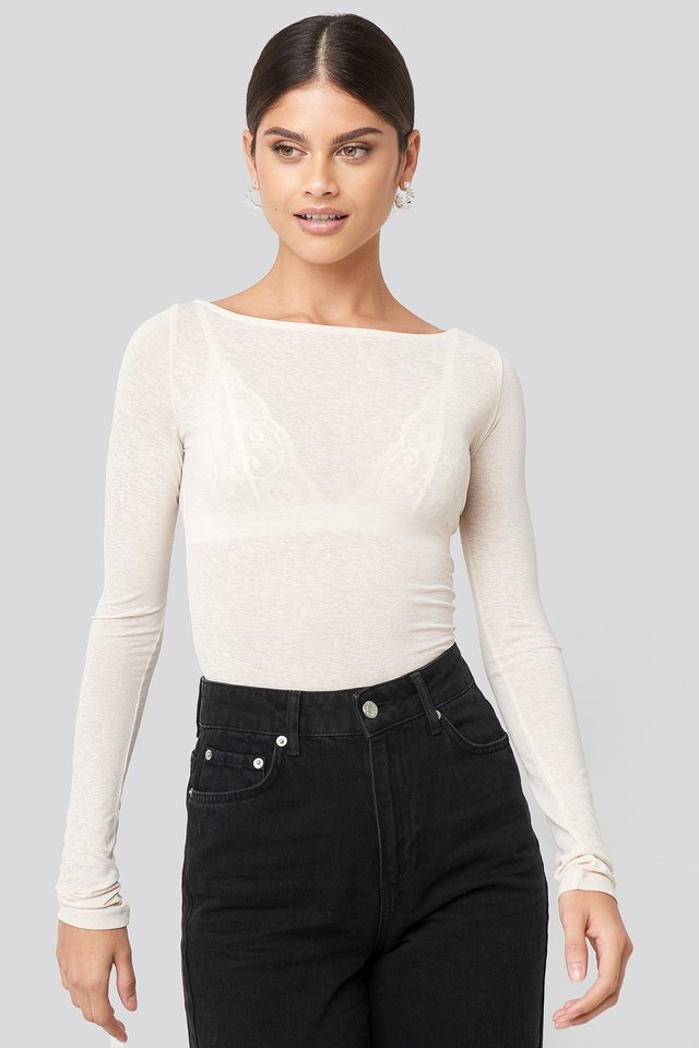 Boat Neck LS Top Off White