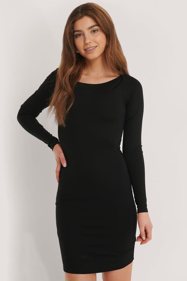 Black Minikjole I Jersey Med Båtutringning