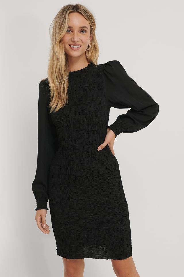 Vestido De Nido De Abeja De Tirantes Black