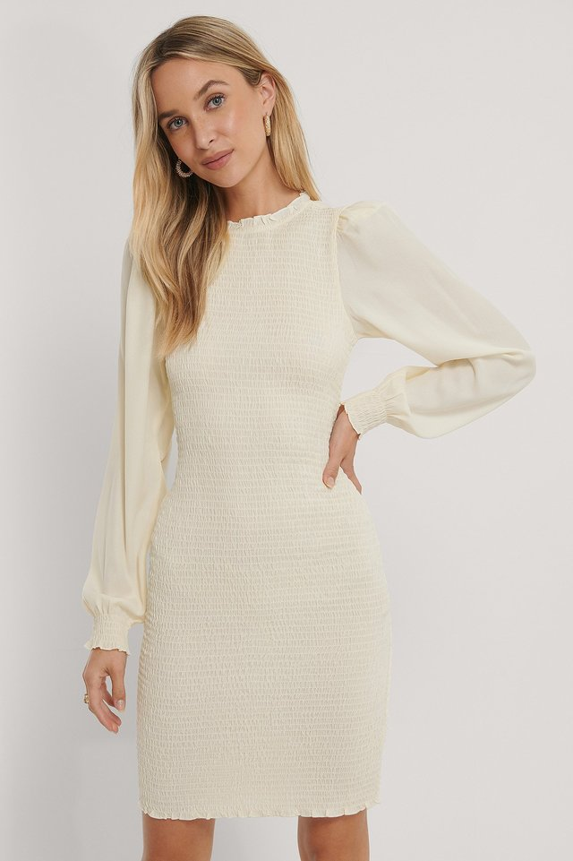 Bodycon Smocked Dress Beige