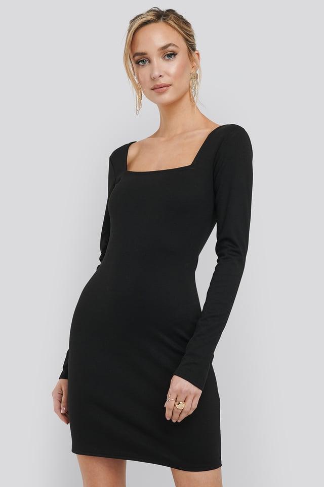 Bodycon Square Neck Dress Black